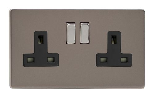 Varilight XDR5BS Screwless Pewter 2 Gang Double 13A Switched Plug Socket